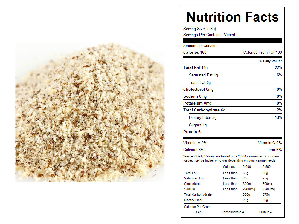Natural Bulk Almond Meal Nutrition FActs
