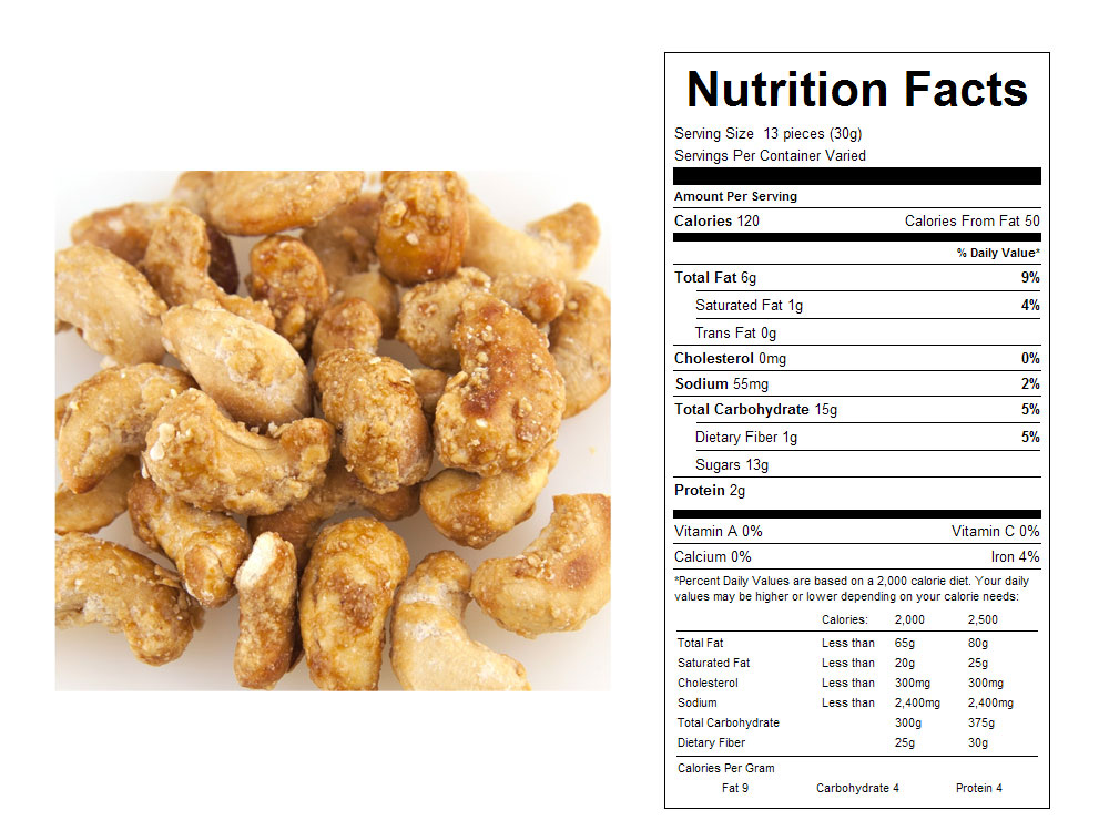 Butter Toffee Coated Bulk Cashews Nutritional Facts
