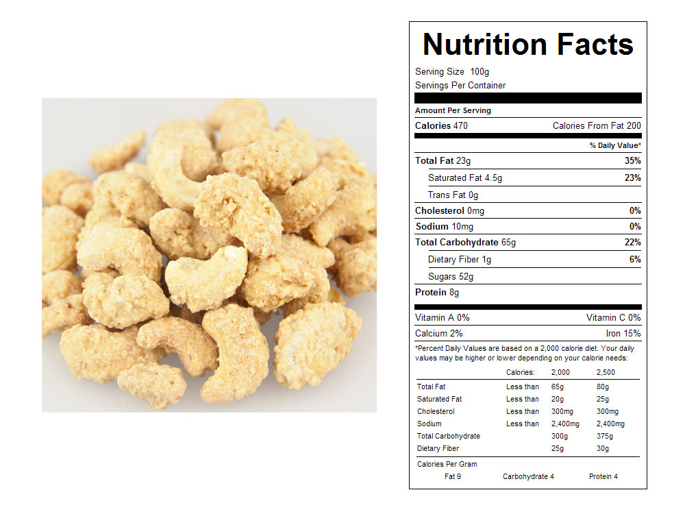 Coconut Crunch Coated Bulk Cashews Nutritional Facts