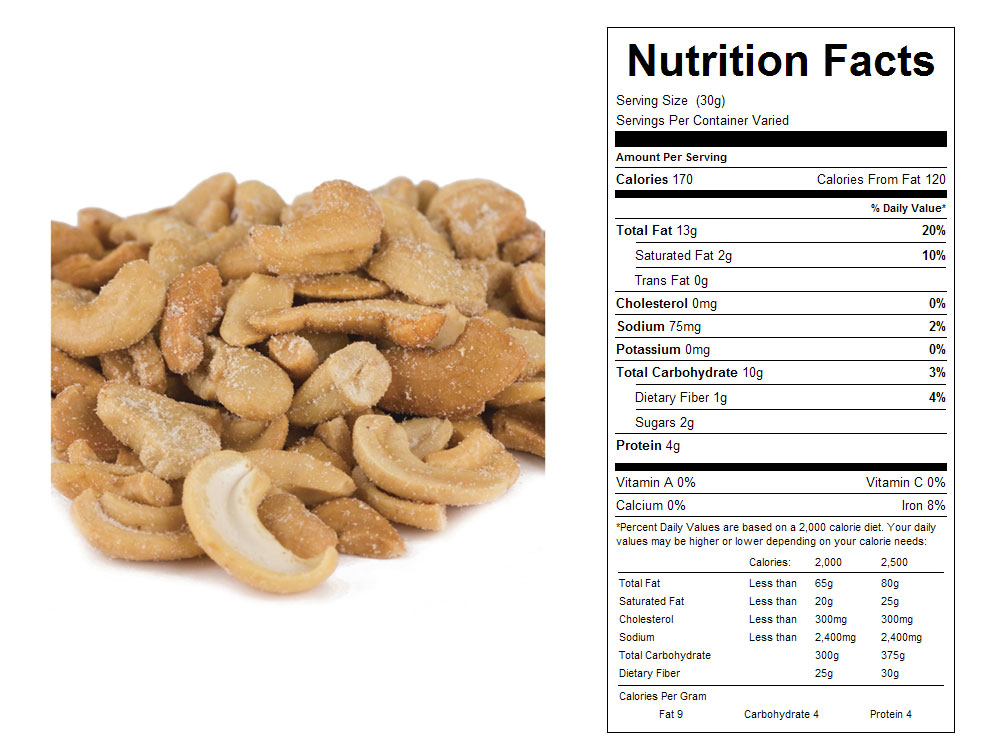 Large Roasted and Salted Bulk Cashew Pieces Nutritional Facts