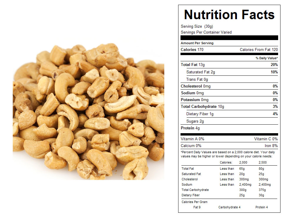 Large Unsalted Roasted Bulk Cashew Pieces Nutritional Facts