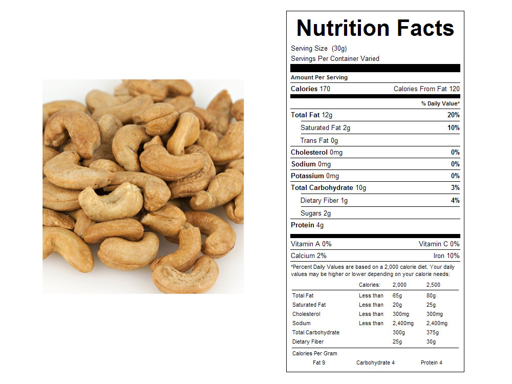Unsalted  Roasted Bulk Cashews Nutritional Facts