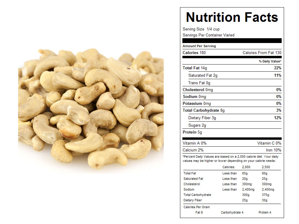 Raw Bulk Cashew Pieces Nutritional Facts