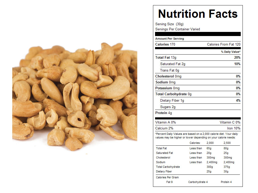 Unsalted Roasted Bulk Cashew Butts Nutritional Facts