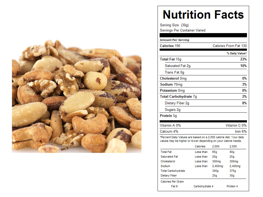 Roasted and Salted Deluxe Mixed Nuts Nutritional Facts