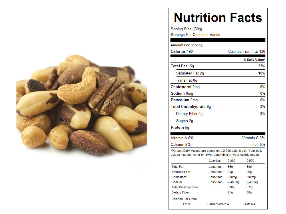 Unsalted Roasted Mixed Nuts Nutritional Facts