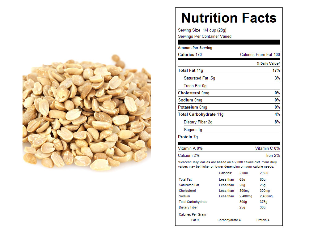 Split Dry Roasted Bulk Peanuts - Nutrition Facts