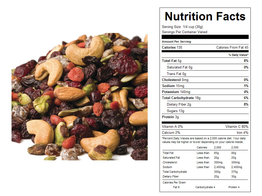 Natural Very Berry Bulk Snack Mix Nutritional Facts