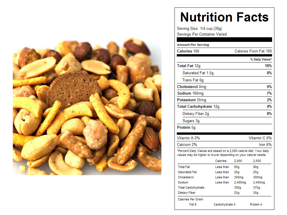Nutty Crunch Bulk Snack Mix Nutritional Facts
