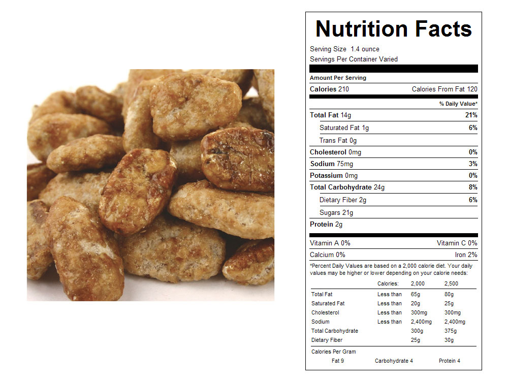 Butter Toffee Coated Bulk Pecans Nutritional Facts