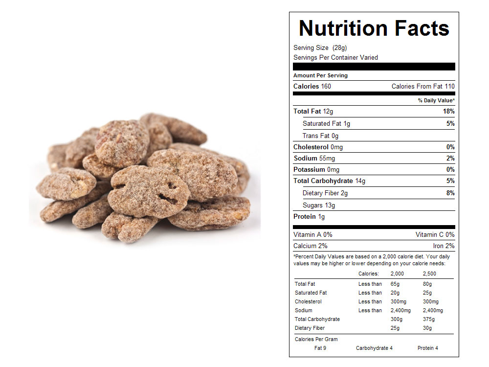 Cinnamon Coated Bulk Pecans Nutritional Facts