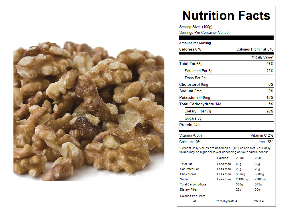 Halves and Pieces Combo Bulk Walnuts Nutritional Facts