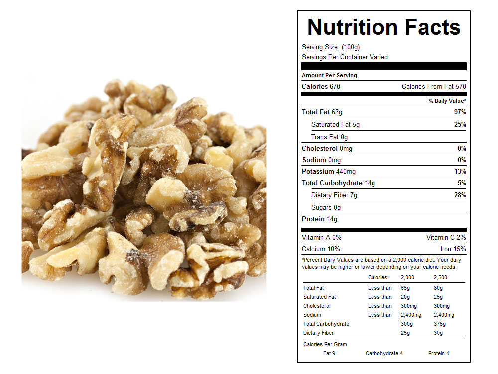 Light Bulk Walnuts - Halves and Pieces Nutritional Facts