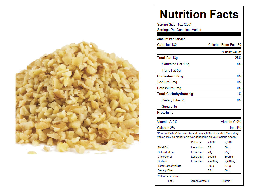 Light Walnut Bulk Bits Nutritional Facts