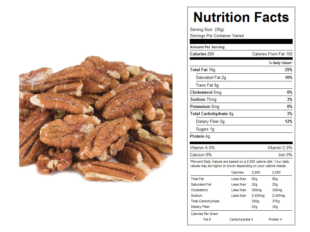Mammoth Roasted and Salted Bulk Pecan Halves Nutritional Facts