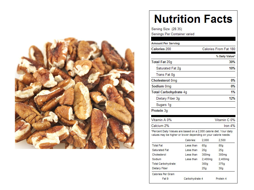 Organic Bulk Pecan Pieces Nutritional Facts