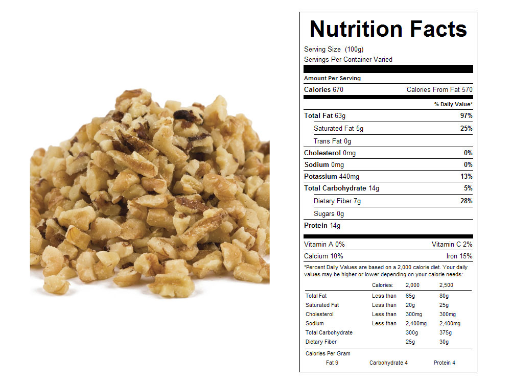 Small Combo Bulk Walnut Pieces Nutritional Facts