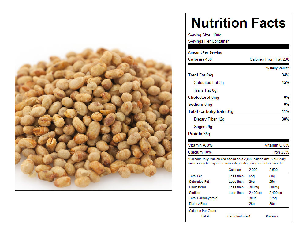 Honey Roasted Bulk Soy Nuts by Sun Gold Nutritional Facts