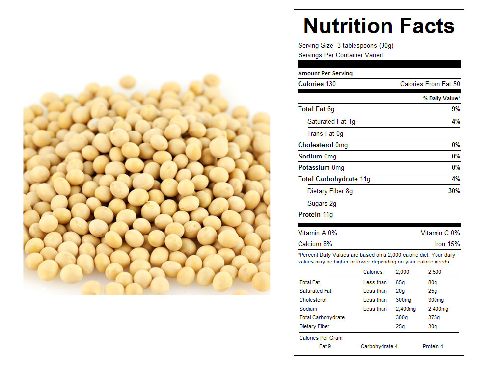 Raw Bulk Soy Nuts Nutritional Facts