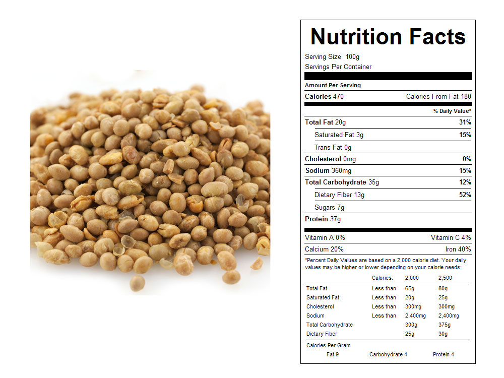 Roasted and Salted Bulk Soy Nuts by Sun Gold Nutritional Facts