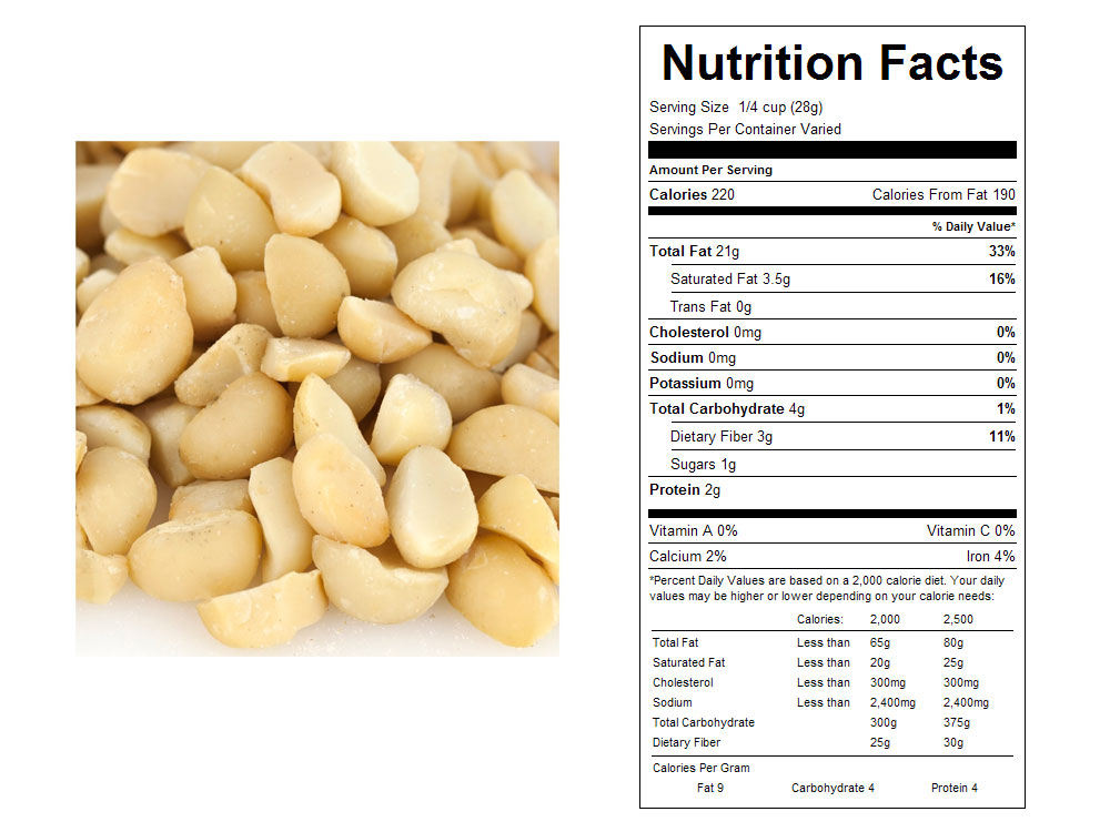 Dry Roasted and Unsalted Bulk Macadamia Nuts Nutritional Facts