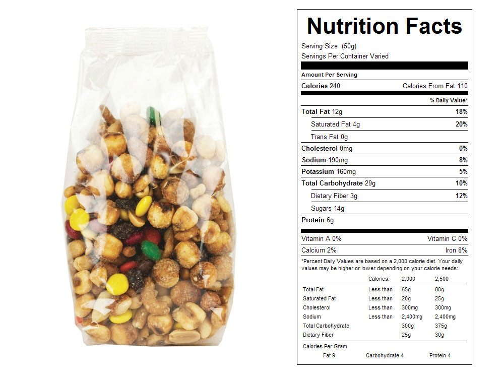 Cabin Crunch Packaged Trail Mix Nutrition Facts