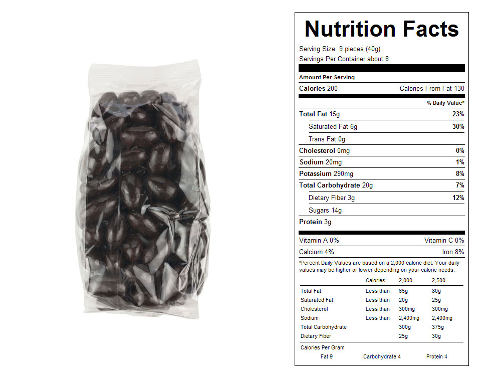 Dark Chocolate Covered Packaged Almonds Nutrition Facts