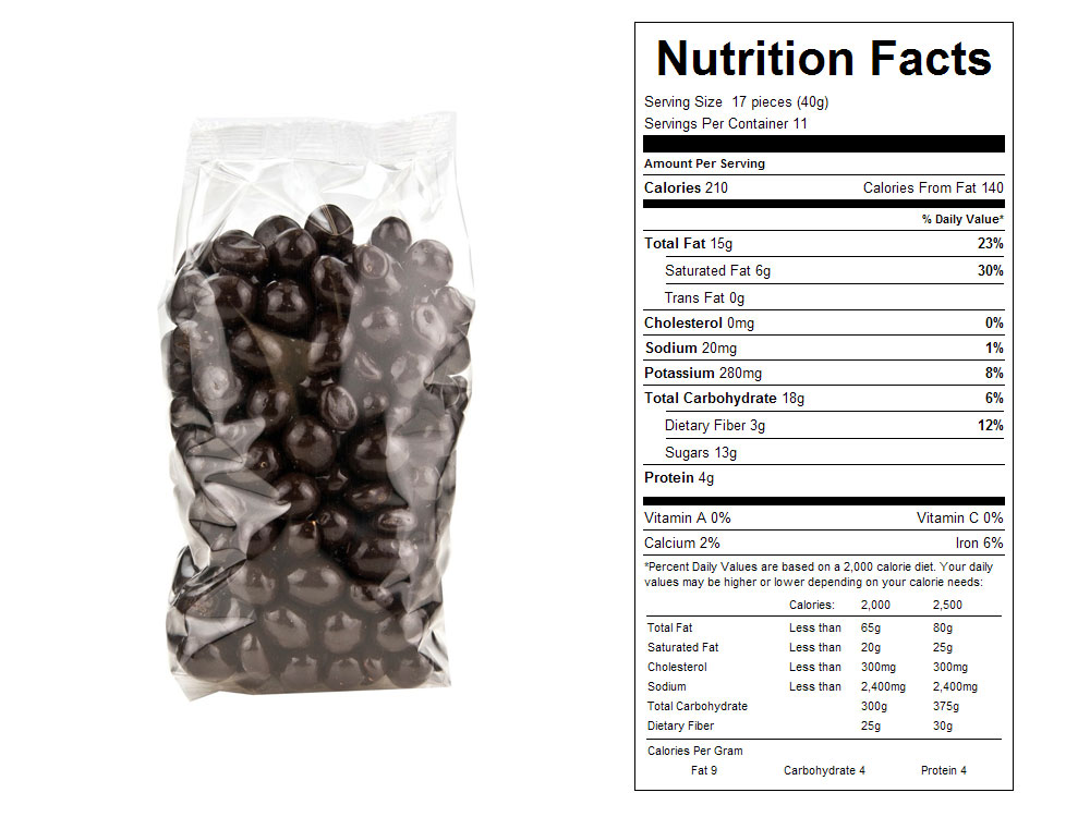 Dark Chocolate Covered Packaged Peanuts Nutrition Facts