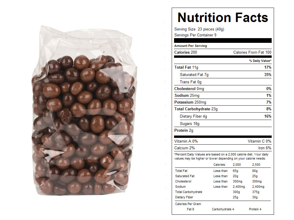 Dark and Milk Chocolate Covered Coffee Beans Nutrition Facts