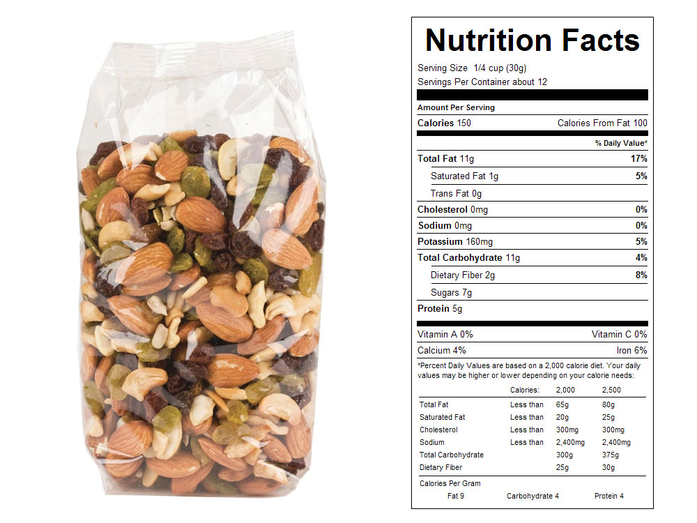 Dieter's Delight Packaged Snack Mix Nutrition Facts