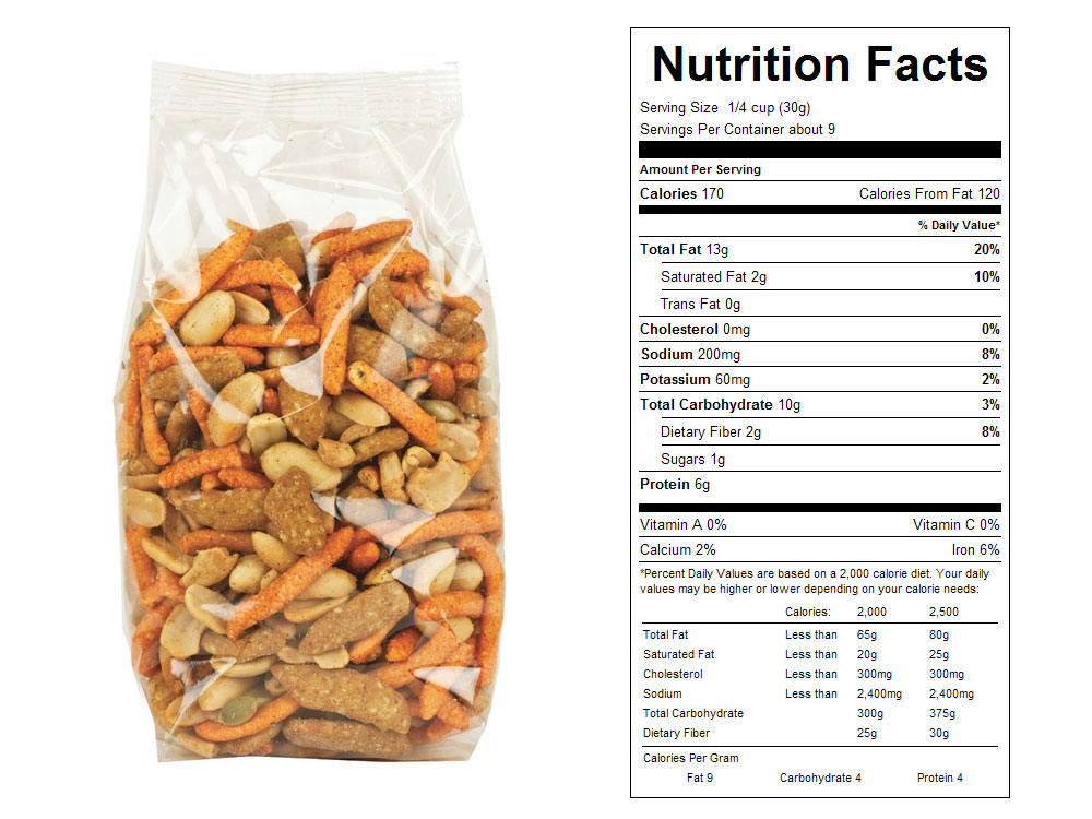 Fiesta Sunshine Packaged Snack Mix Nutrition Facts