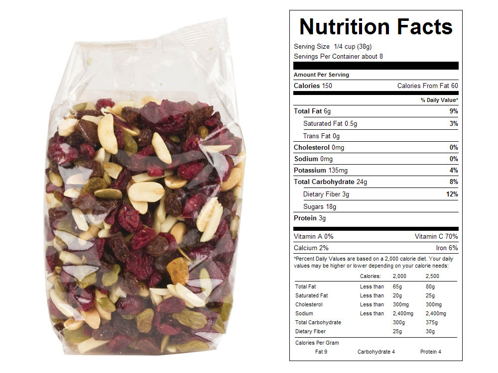 Fruit-N-Nut Packaged Snack Mix Nutrition Facts