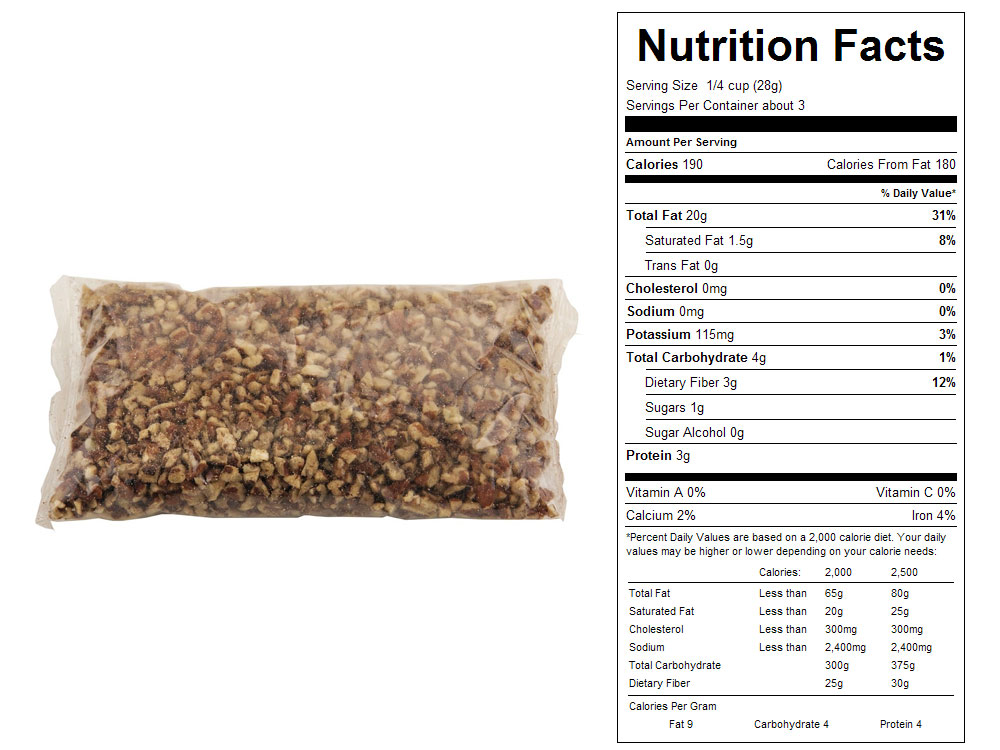 Medium Packaged Pecan Pieces Nutrition Facts