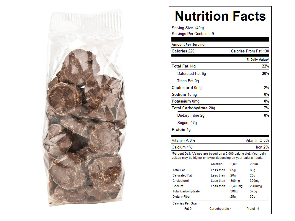 Milk Chocolate Packaged Peanuts Clusters Nutrition Facts