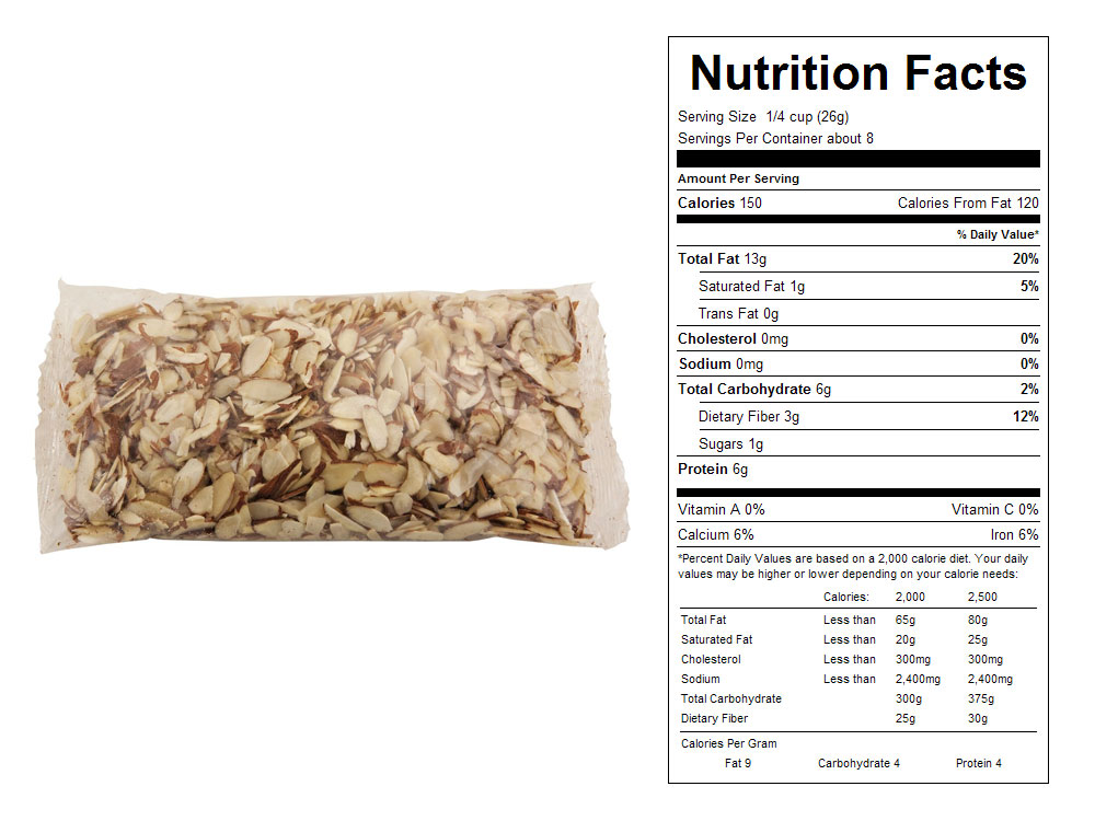 Natural Sliced Packaged Almonds - Nutrition Facts