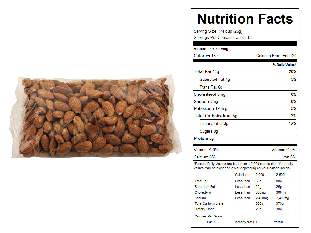 Nonpareil Supreme Packaged Almonds - Nutrition Facts