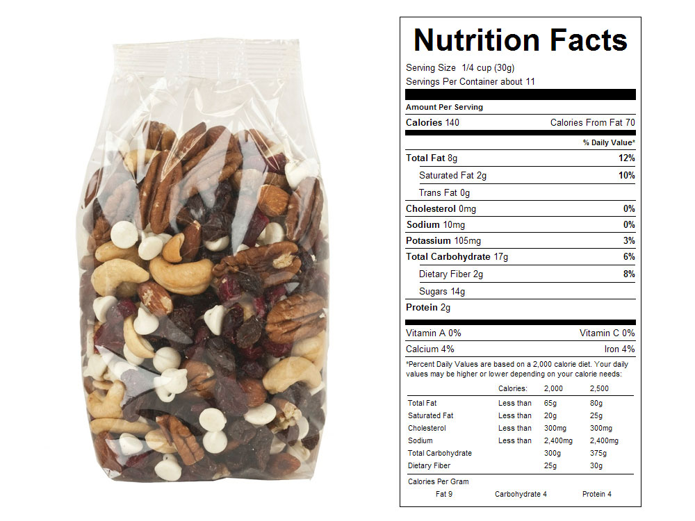Raspberry Nut Supreme Packaged Snack Mix Nutrition Facts