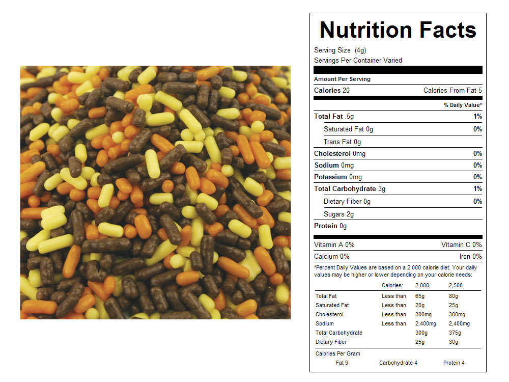 Autumn Mix Bulk Sprinkles - Nutrition Facts