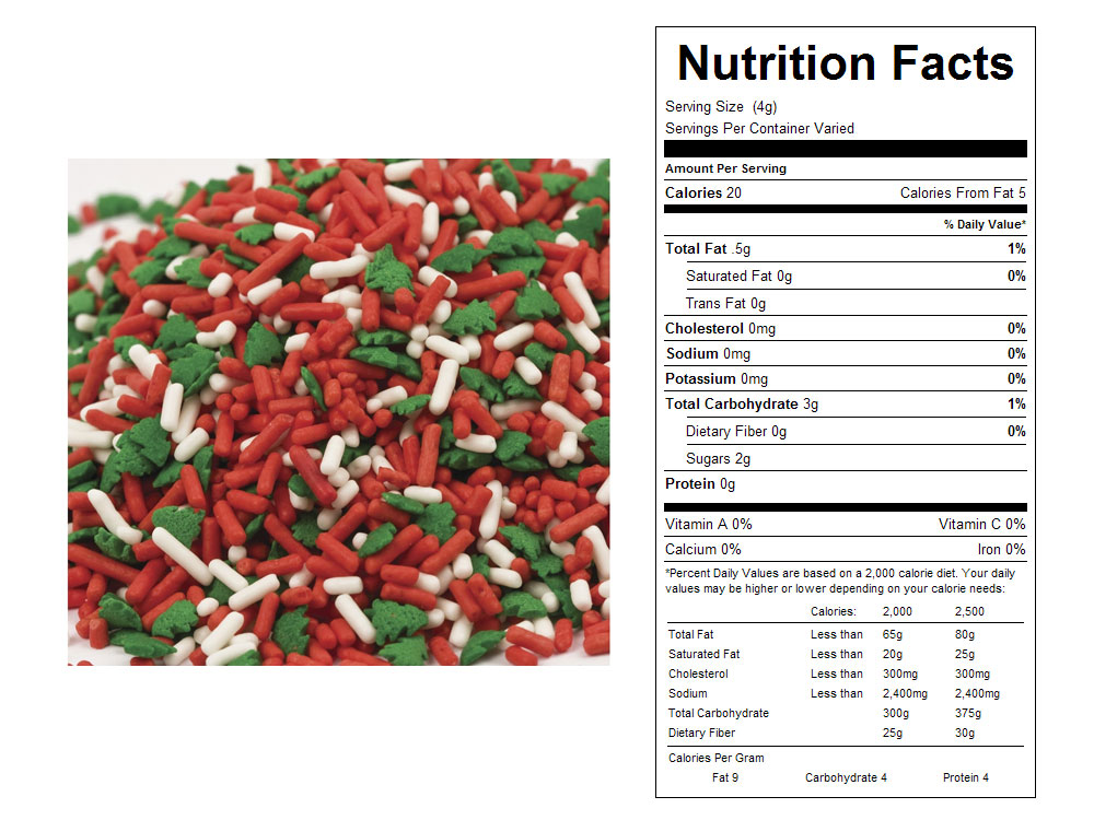 Christmas Tree Mix Bulk Sprinkles - Nutrition Facts