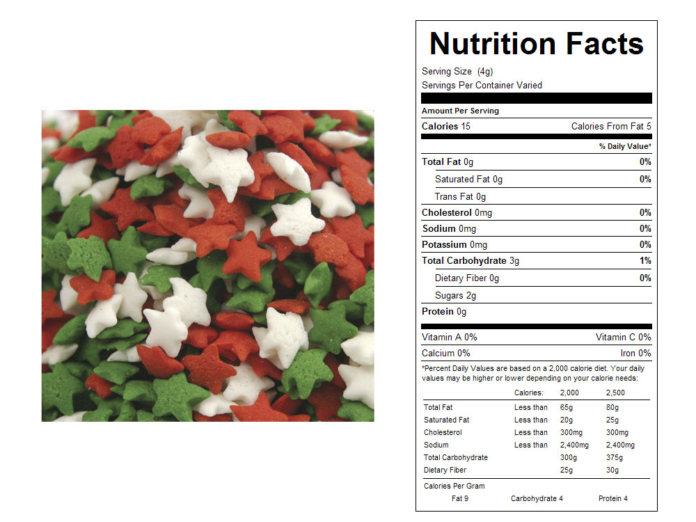Holiday Star Shape Bulk Sprinkles - Nutrition Facts