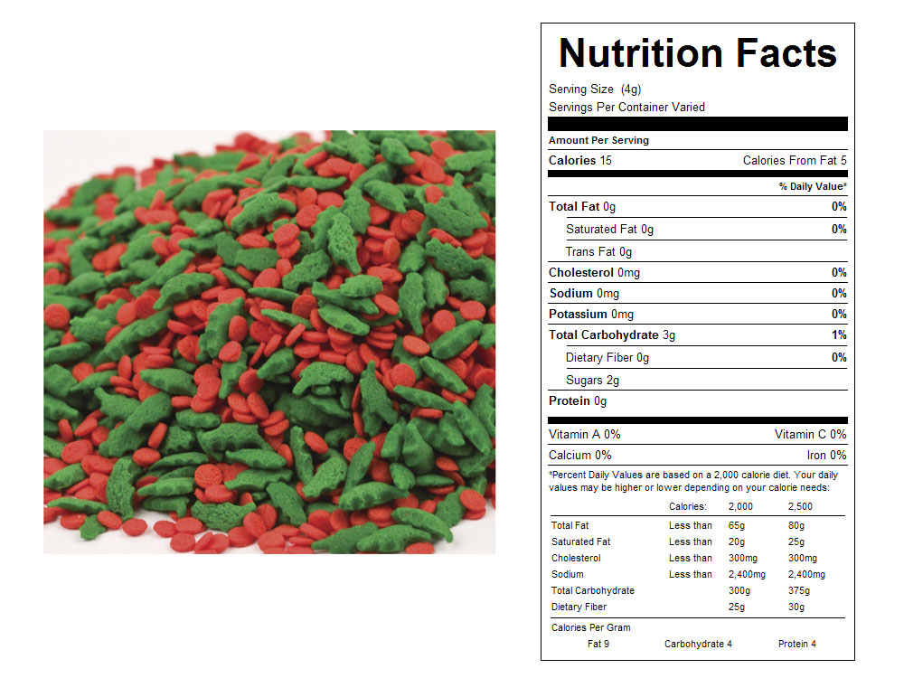 Holly Leaves and Berries Mix Bulk Sprinkles - Nutrition Facts