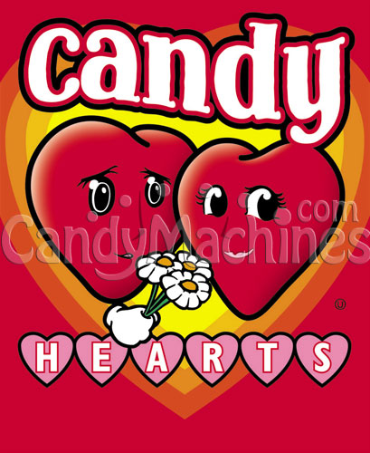 Candy Hearts Bulk Candy Vending Display Card