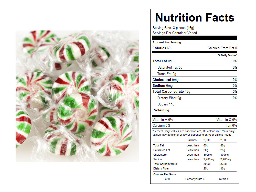 Christmas Starlite Mints Bulk Candy - Nutritional Facts
