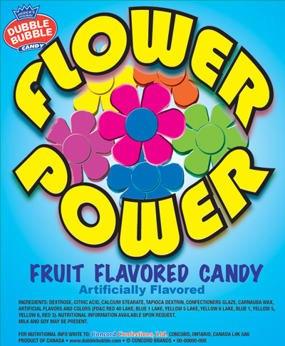 Flower Power Candy Bulk Vending Display Card