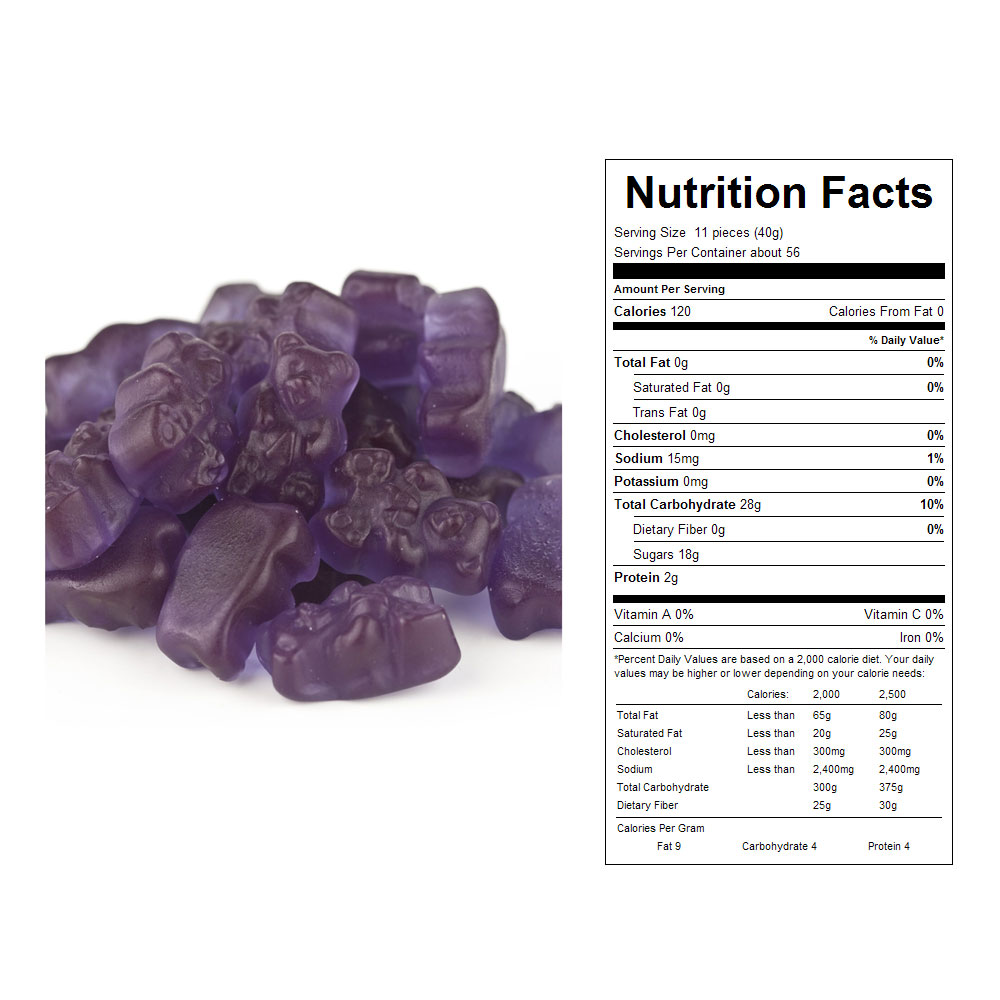 Grape Gummy Bears Bulk Candy (20 lbs)
