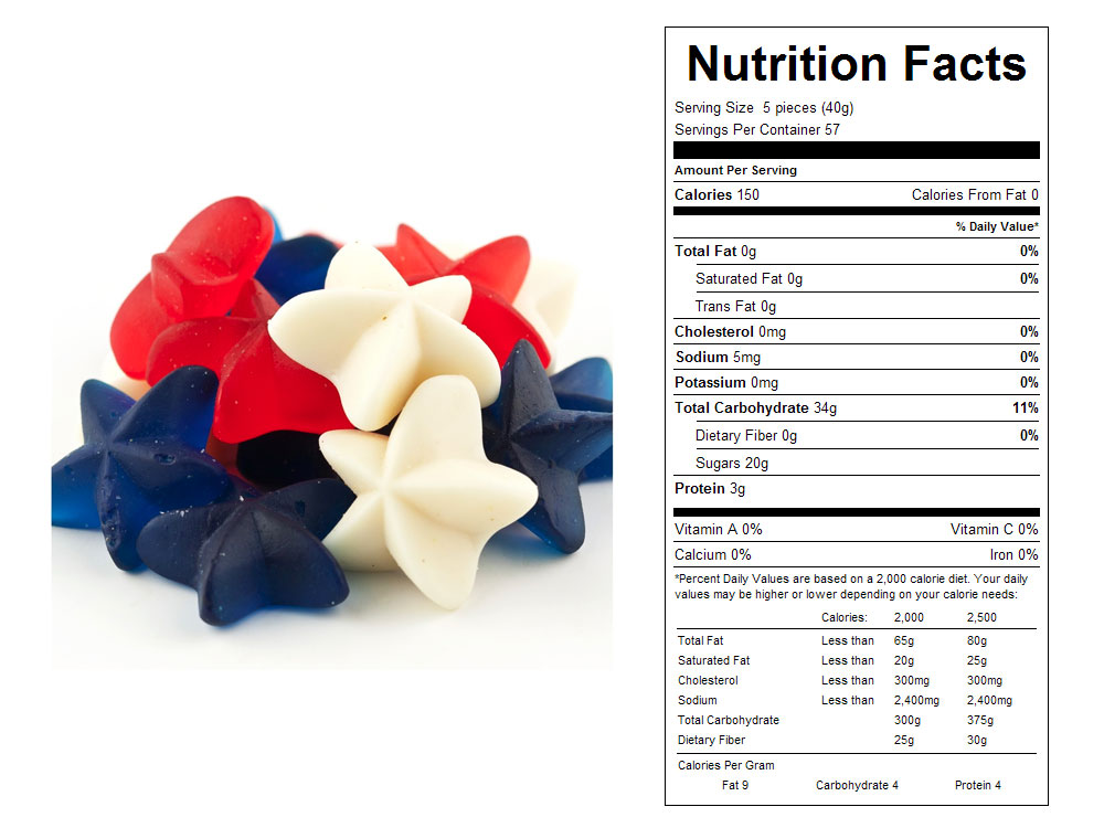 Gummy Patriotic Stars Bulk Candy - Nutritional Facts