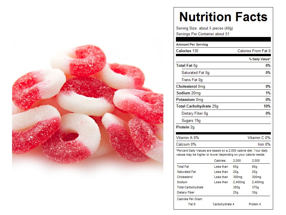 Cherry Gummy Rings Bulk Candy - Nutritional Facts