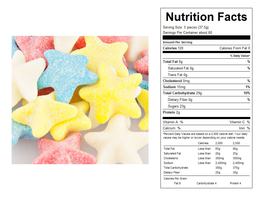 Sour Gummy Sea Stars Bulk Candy - Nutritional Facts