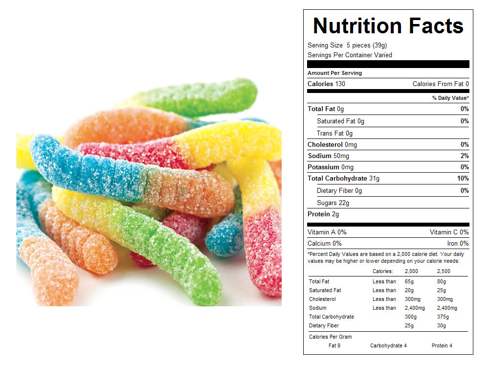 Sour Gummy Worms by Ferrara Bulk Candy - Nutritional Facts