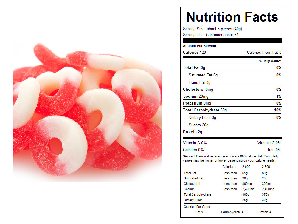 Watermelon Gummy Rings Bulk Candy - Nutritional Facts